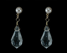 Champagne Pearl and Clear Teardrop Crystal Bead Earring (ivory)