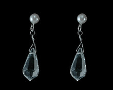 Bright White Pearl and Clear Teardrop Crystal Bead Earring