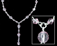 Light Pink Crystal Bead Y Necklace on Silver