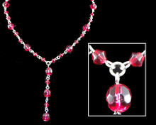 Raspberry Crystal Bead Y Necklace on Silver (pink) (red)