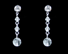 Clear Crystal Bead Earrings on Silver - Medium