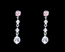 Light Pink Crystal Bead Earrings on Silver - Medium