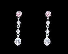 Light Pink Crystal Bead Earrings on Silver - Medium