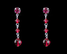 Raspberry Crystal Bead Earrings on Silver - Medium (pink)(red)