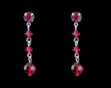 Raspberry Crystal Bead Earrings on Silver - Medium (pink)(red)
