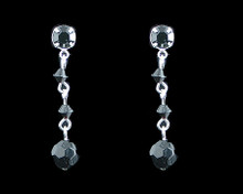 Black Crystal Bead Earrings on Silver - Medium