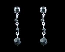 Black Crystal Bead Earrings on Silver - Medium