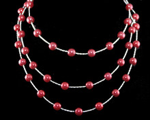 Cascading Rows of Cranberry 8mm Pearls on Silver Necklace (red)