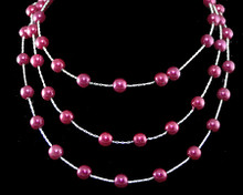 Cascading Rows of Bright Plum Pearls on Silver Necklace (purple)