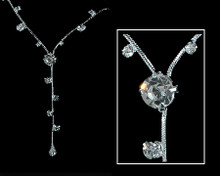 Silver and Clear Crystal Y Necklace