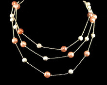 Triple Row Cinnamon/Copper Pearl and Gold Bead Necklace (brown)