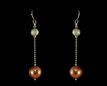 Soft Copper Pearl and Gold Bead Earrings to match set