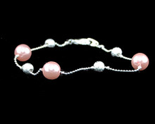Soft Pink Pearl and Silver Bead Bracelet to match set