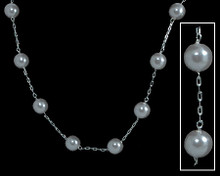 Single Row of White Pearls on Silver Necklace
