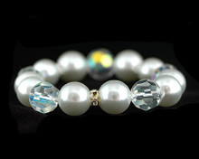 Bright White Pearl with Clear Crystal Stretch Bracelet