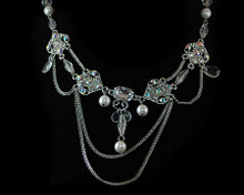 Sensational Crystal and White Pearl Necklace on Silver