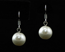 Single Cream Pearl Fish Hook Earring