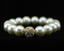 Formal Cream Pearl Stretch Bracelet with Rhinestones and Gold (I