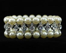 Ivory Pearl and Silver Rhinestone Bracelet
