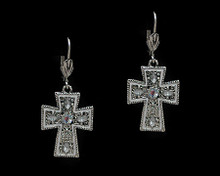 Silver and Crystal Cross Earring