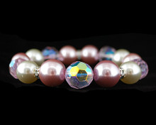 Pink and White Pearl with Pink Crystal Stretch Bracelet with Rhi
