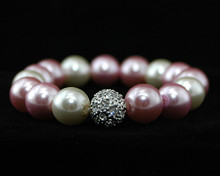 Formal Pink, Mauve & White Pearl Stretch Bracelet with Rhineston