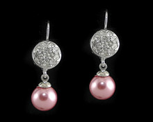 Formal Pink Pearl and Silver Earring