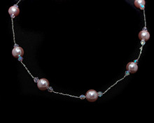 Pink Pearl and Small Crystal Necklace on Silver
