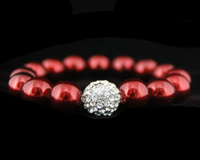 Formal Crimson Pearl Stretch Bracelet with Rhinestones (Red)