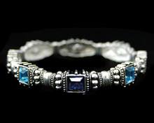Light and Dark Blue Ornate Silver Bracelet