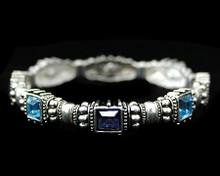Light and Dark Blue Ornate Silver Bracelet
