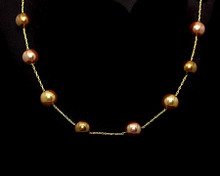 Bronze, Taupe and Light Gold Color 10mm Pearl Necklace (Brown)