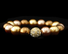 Formal Bronze, Gold and Taupe Pearl Stretch Bracelet (brown)