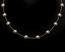 Taupe Color Pearl Necklace on Silver (Brown)