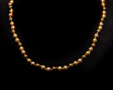 Bronze, Taupe and Light Gold Color 6mm Pearl Necklace (Brown)