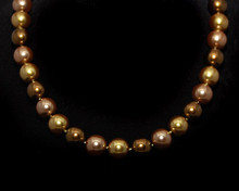 Formal Bronze, Taupe and Light Gold Color Pearl Necklace (Brown)