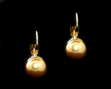 Single Gold Pearl Earring (10mm) (Brown)