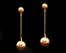 Long Gold Pearl Earring with Gold (Brown)