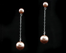 Long Taupe Pearl Earring with Silver (brown)