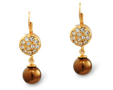 Formal Bronze Pearl and Gold Earring (Brown)