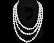 "Fun/Flirty White Pearl 60"" Necklace Long or Short"