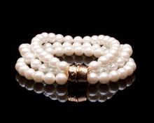 Cream/Champagne Pearl Three Strand Bracelet Gold Clasp