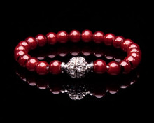Cranberry Red Colored Pearl Bracelet Rhinestone Clasp