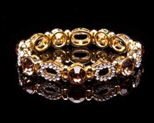 Smokey Topaz and Gold Rhinestone Bracelet (Brown)