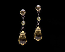 Citrine Yellow Crystal Drop Earrings with Dark Chain