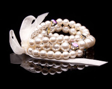 Three strands of Lustrous Cream Pearls Bracelet