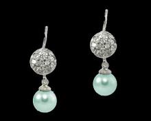 Formal Aqua Blue Pearl and Silver Earring