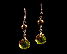 Bronze Pearl and Amber Crystal Earrings