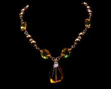 Bronze Pearl and Amber Crystal Drop Necklace
