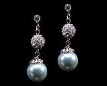 Light Blue Pearl and Rhinestone Earrings